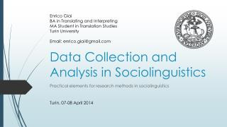 Data Collection and Analysis in Sociolinguistics