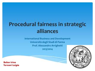 Procedural fairness  in  strategic alliances
