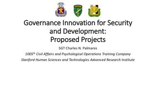 Governance Innovation for Security and Development:  Proposed Projects