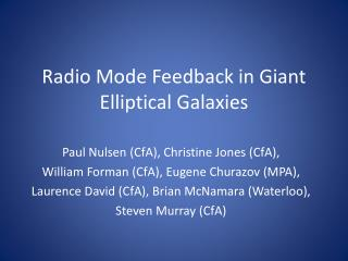Radio Mode Feedback in Giant Elliptical Galaxies