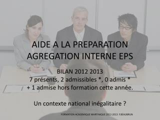 AIDE A LA PREPARATION AGREGATION INTERNE EPS