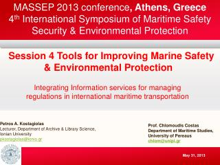 Petros A. Kostagiolas Lecturer, Department of Archive & Library Science, Ionian University