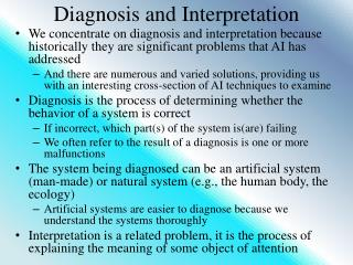 Diagnosis and Interpretation