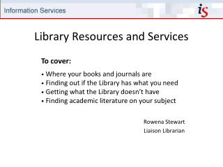 Library Resources and Services