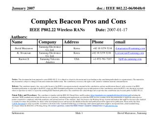 Complex Beaco n  Pros and Cons
