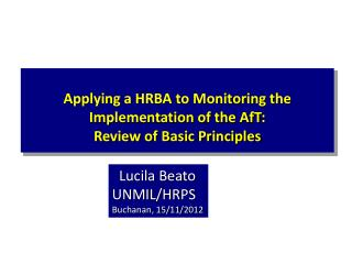 Applying a HRBA to Monitoring the Implementation of the  AfT :  Review of Basic Principles