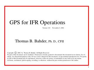 GPS for IFR Operations