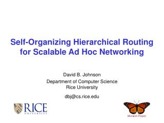 Self-Organizing Hierarchical Routing for Scalable Ad Hoc Networking