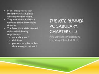 The Kite Runner  Vocabulary, Chapters 1-5
