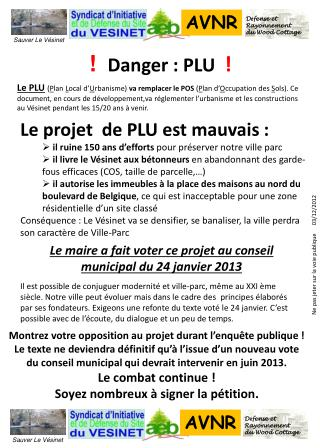 ! Danger : PLU !