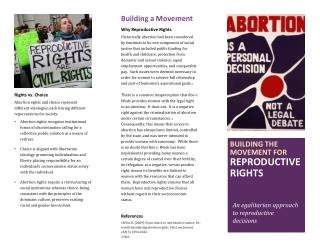 Building the movement for  Reproductive  rights