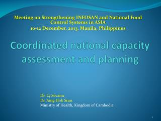 Coordinated national capacity assessment and planning