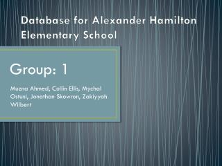 Database for Alexander Hamilton Elementary School