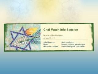 Chai Match Info Session