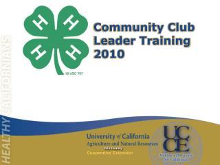 Community Club Leader Training 2010