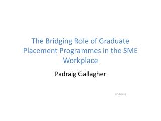 The Bridging Role of Graduate Placement Programmes in the SME Workplace