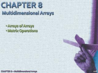 CHAPTER 8 Multidimensional Arrays