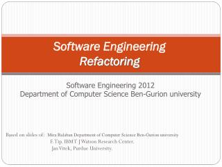 Software Engineering Refactoring