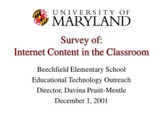 Survey of: Internet Content in the Classroom