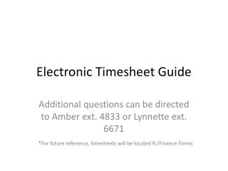 Electronic Timesheet Guide