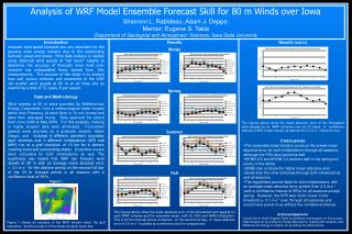 Analysis of WRF Model Ensemble Forecast Skill for  80 m  Winds over Iowa