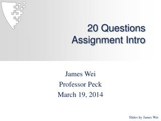 20 Questions Assignment Intro