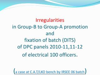 Steps in promotion and fixation of Batch
