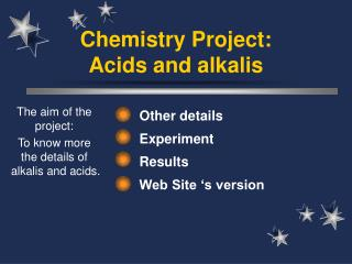 Chemistry Project: Acids and alkalis