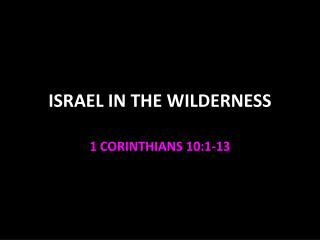 ISRAEL IN THE WILDERNESS