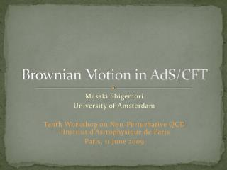 Brownian Motion in AdS/CFT