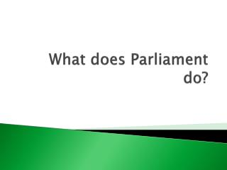 What does Parliament do?