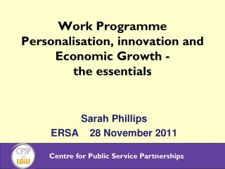 Work Programme Personalisation, innovation and Economic Growth - the essentials