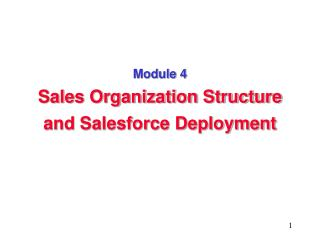 Module 4 Sales Organization Structure and Salesforce Deployment