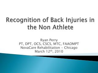 Recognition of Back Injuries in the Non  Athlete