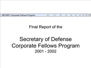 Final Report of the 1995-96 SECDEF Fellows Program
