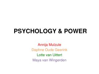 PSYCHOLOGY & POWER
