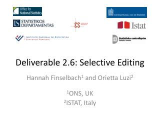 Deliverable 2.6: Selective  Editing