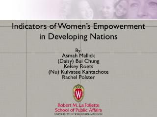 Indicators of Women's Empowerment  in Developing Nations