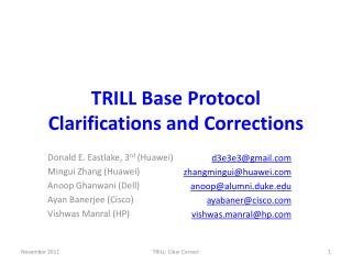 TRILL Base Protocol Clarifications and Corrections