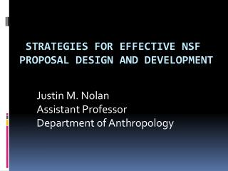 Strategies for Effective NSF Proposal Design and Development