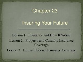 Chapter 23 Insuring Your  Future