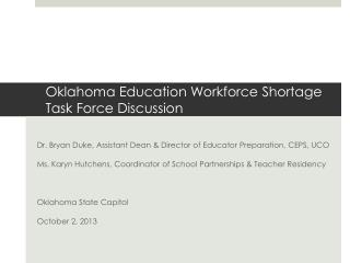 Oklahoma Education Workforce Shortage Task Force Discussion