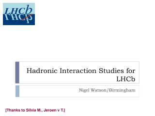Hadronic  Interaction Studies for  LHCb
