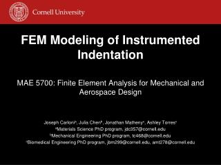 FEM Modeling of Instrumented Indentation
