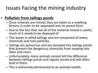 Issues Facing the mining industry