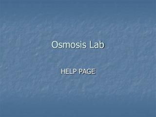 Osmosis Lab