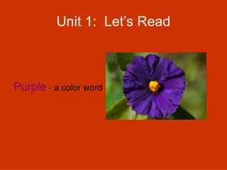 Unit 1:  Let's Read