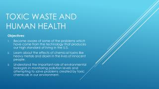 Toxic Waste and Human Health