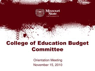 College of Education Budget Committee