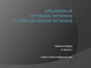 Application of  ART  neural networks   in  Wireless sensor networks